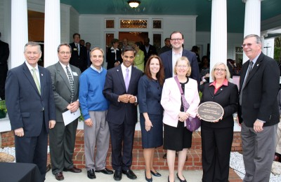 Steve Rao (center) with other elected officials at historic site in Morrisville.