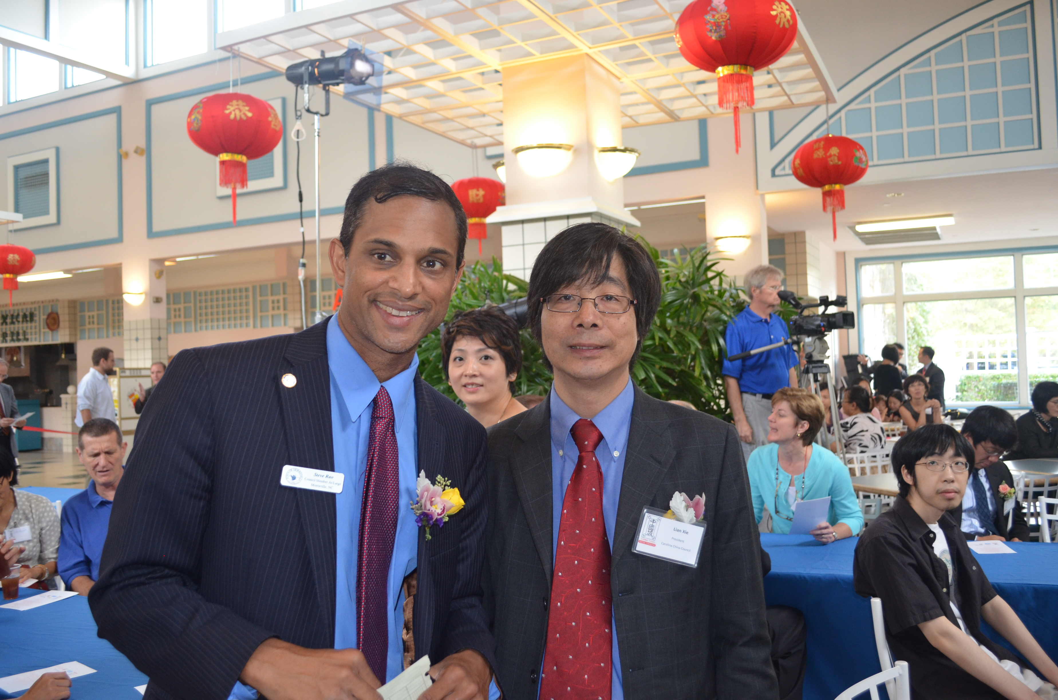 Lian Xie, President of Carolina China Council, with Steve.