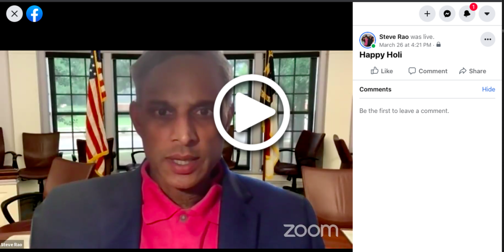 Steve's FaceBook Live Message - Happy Holi
