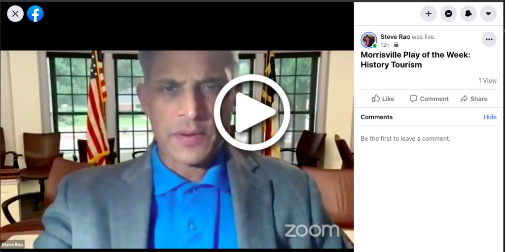 Picture of Steve Rao FaceBook Live message on Leveraging History to Bolster Morrisville Tourism