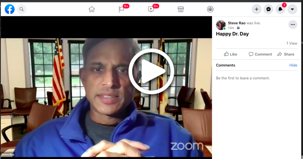 Steve's FaceBook Live Message for Happy Doctors Day