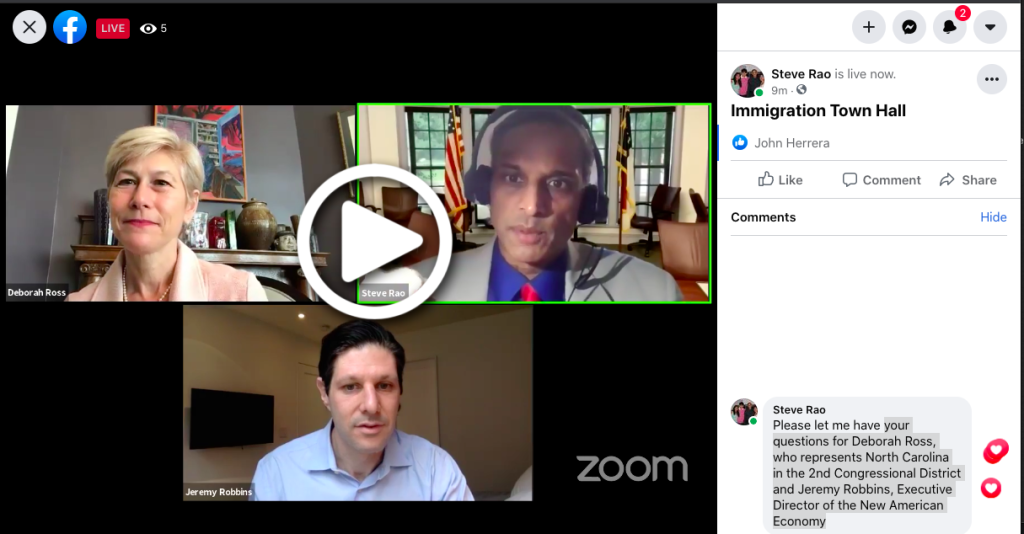 Picture from Steve Rao FaceBook Live - Fireside Chat - Immigration Town Hall