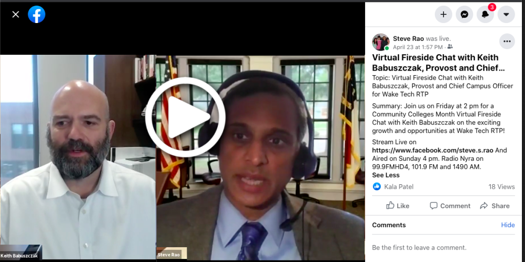 Picture fron Steve Rao Facebook Live - Virtual Fireside Chat with Keith Babuszczak, Provost and Chief Campus Officer for Wake Tech RTP